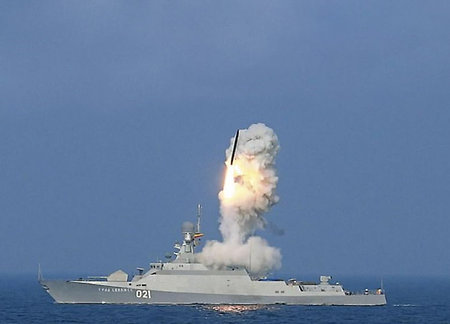 Caspian flotilla fires 'Kalibr-NK' at the enemy ships